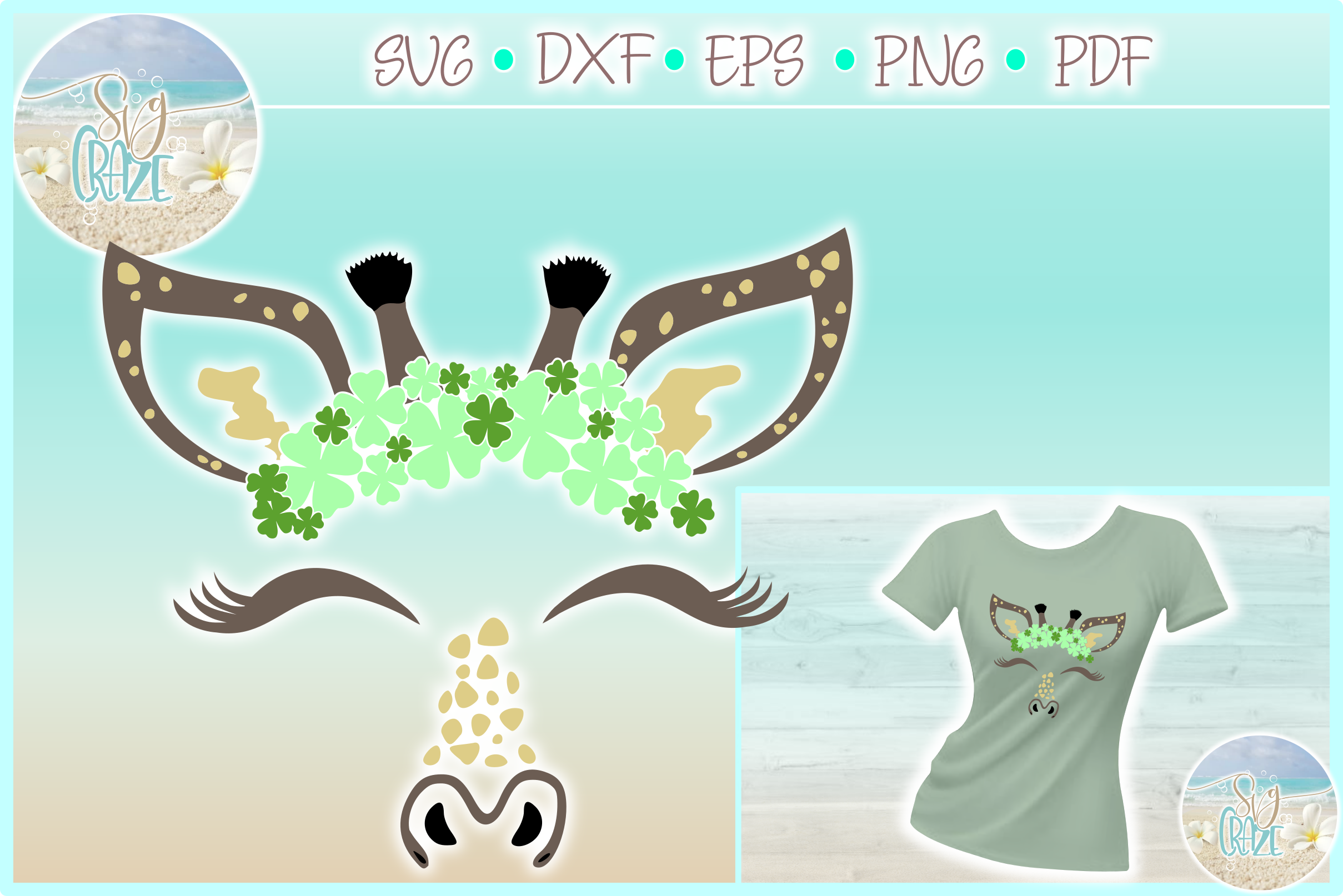 Giraffe Face With Clovers St Patricks Day SVG Dxf Eps Png PD example image 1