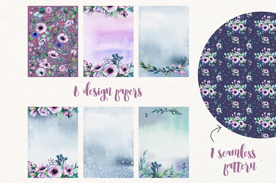 Flowers watercolor set example image 6