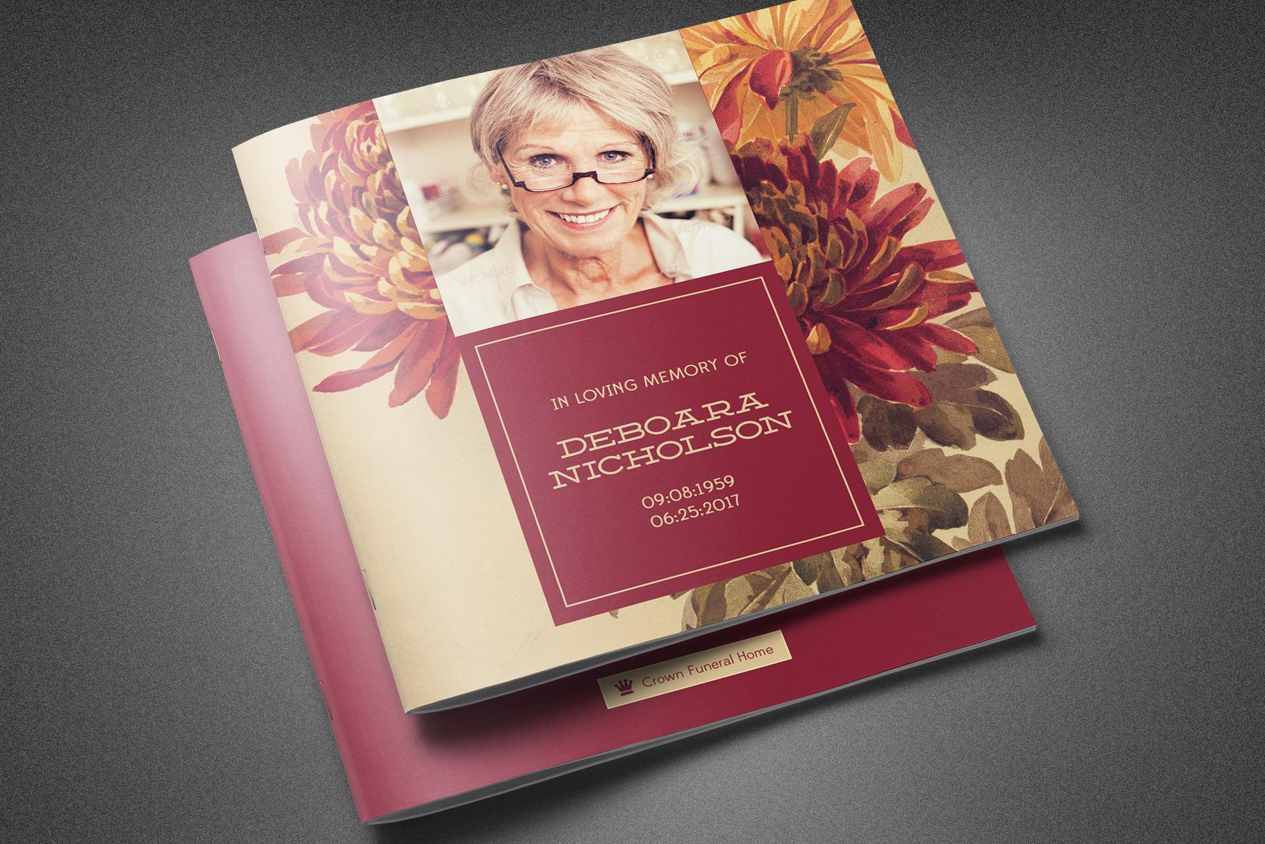 Burgundy Floral Funeral Program example image 1