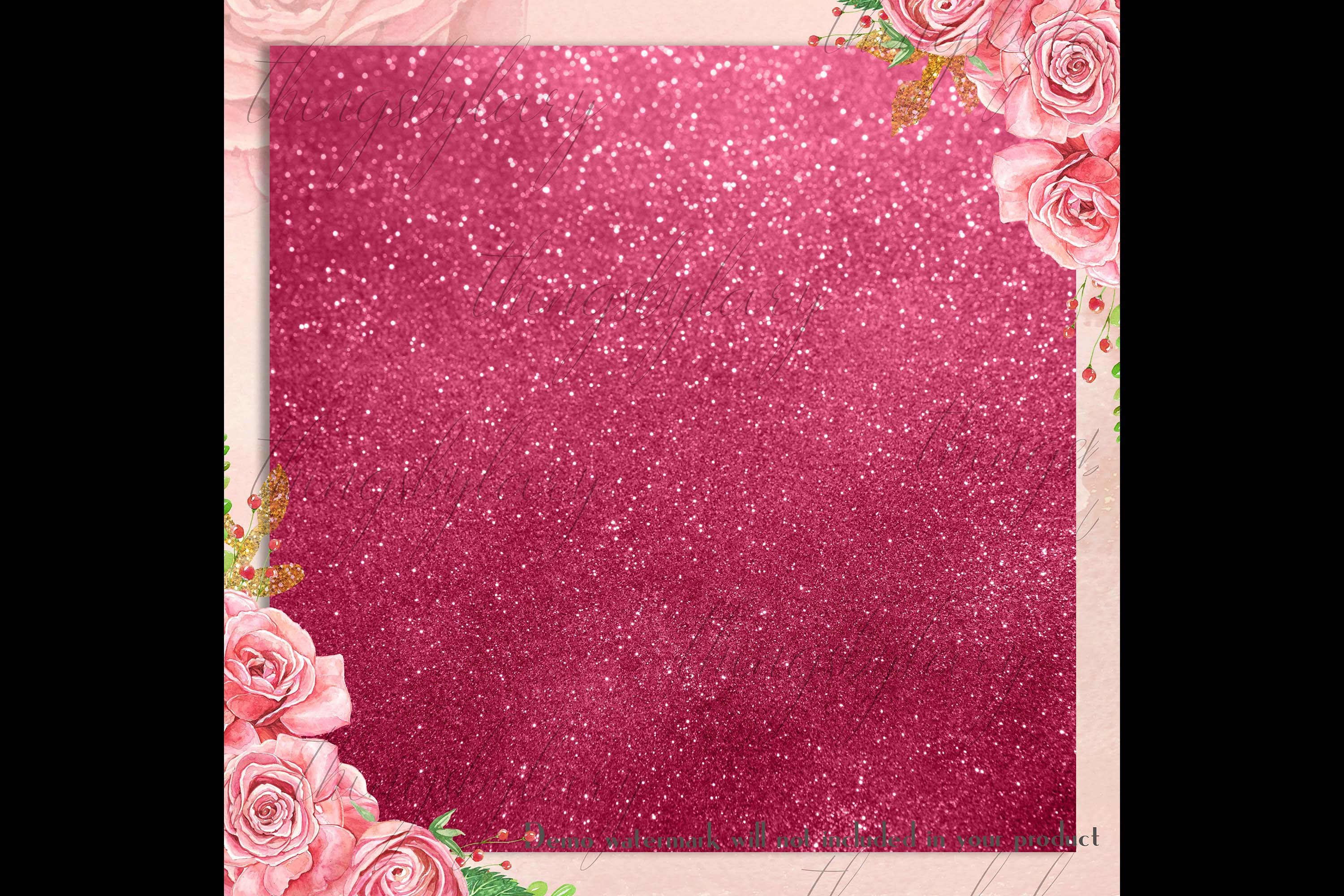 42 Blush Pink Princess Baby Glitter Sequin Digital Papers example image 4