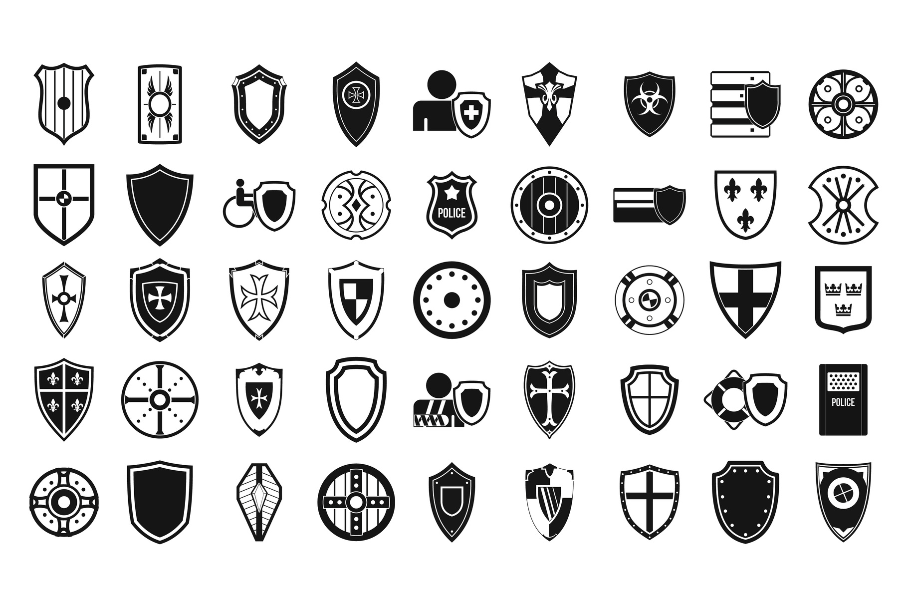 Shield icon set, simple style example image 1