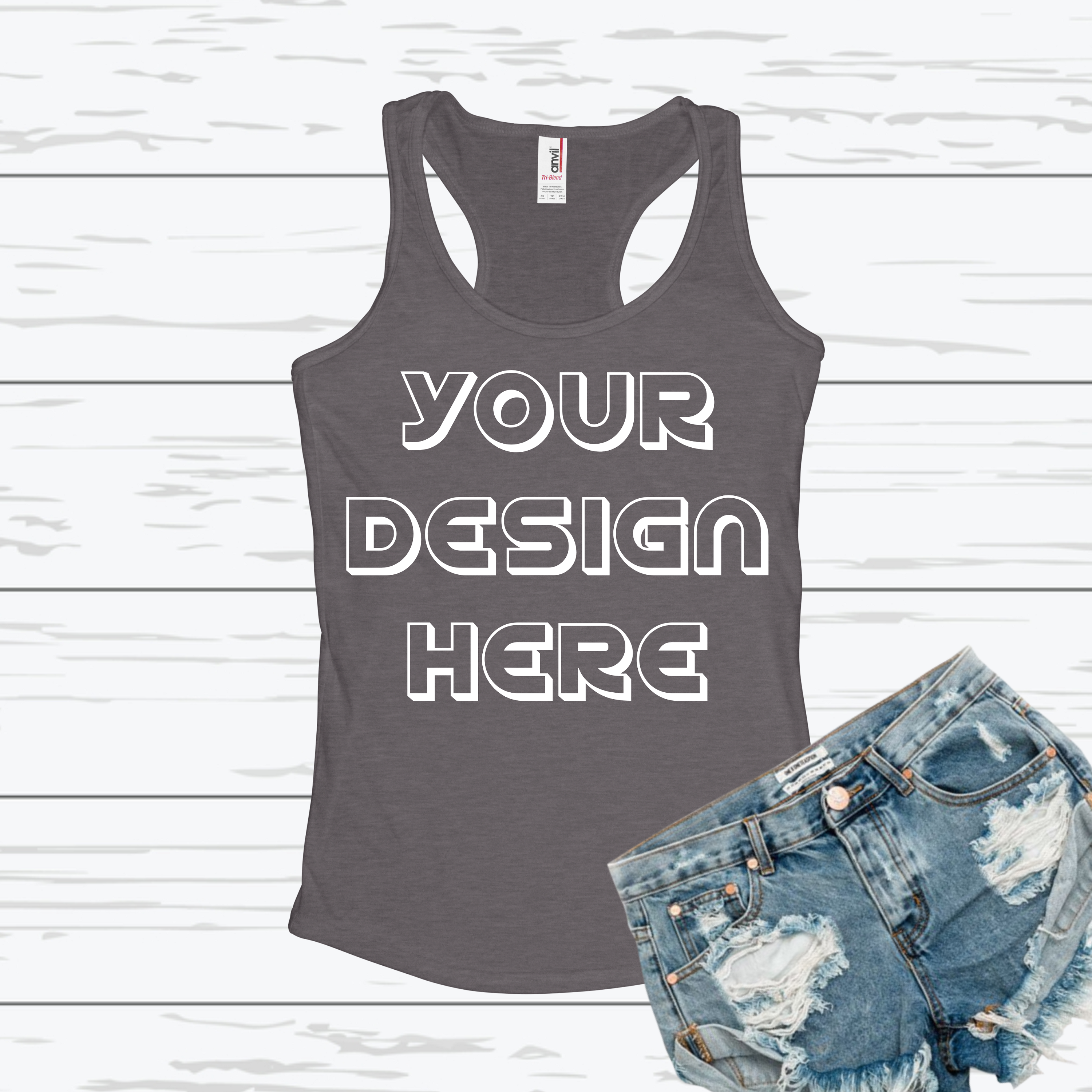 Anvil 6751L Racerback Tank Mockups with Background - 6 example image 3