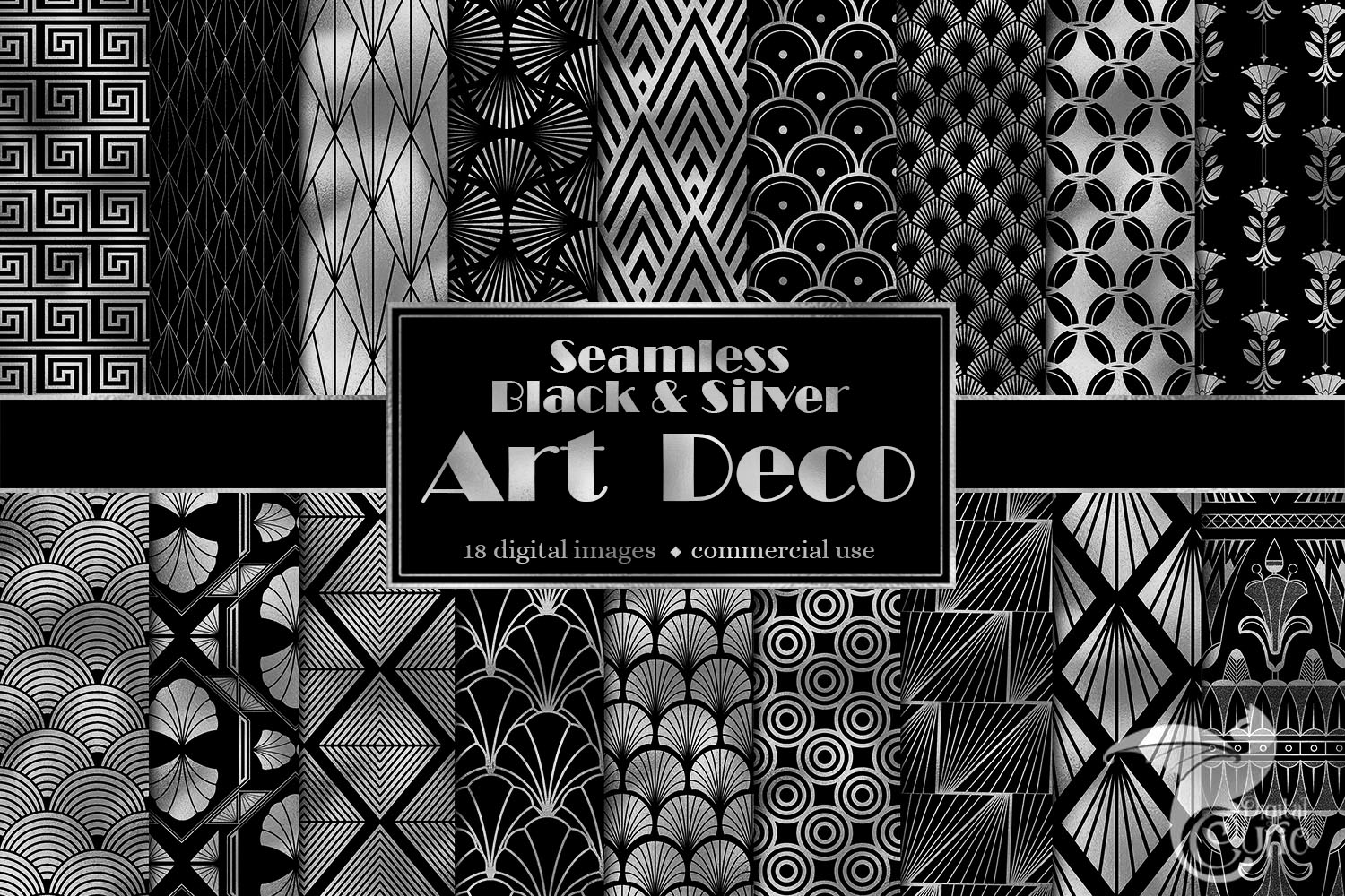 Black and Silver Art Deco Digital Paper example image 1