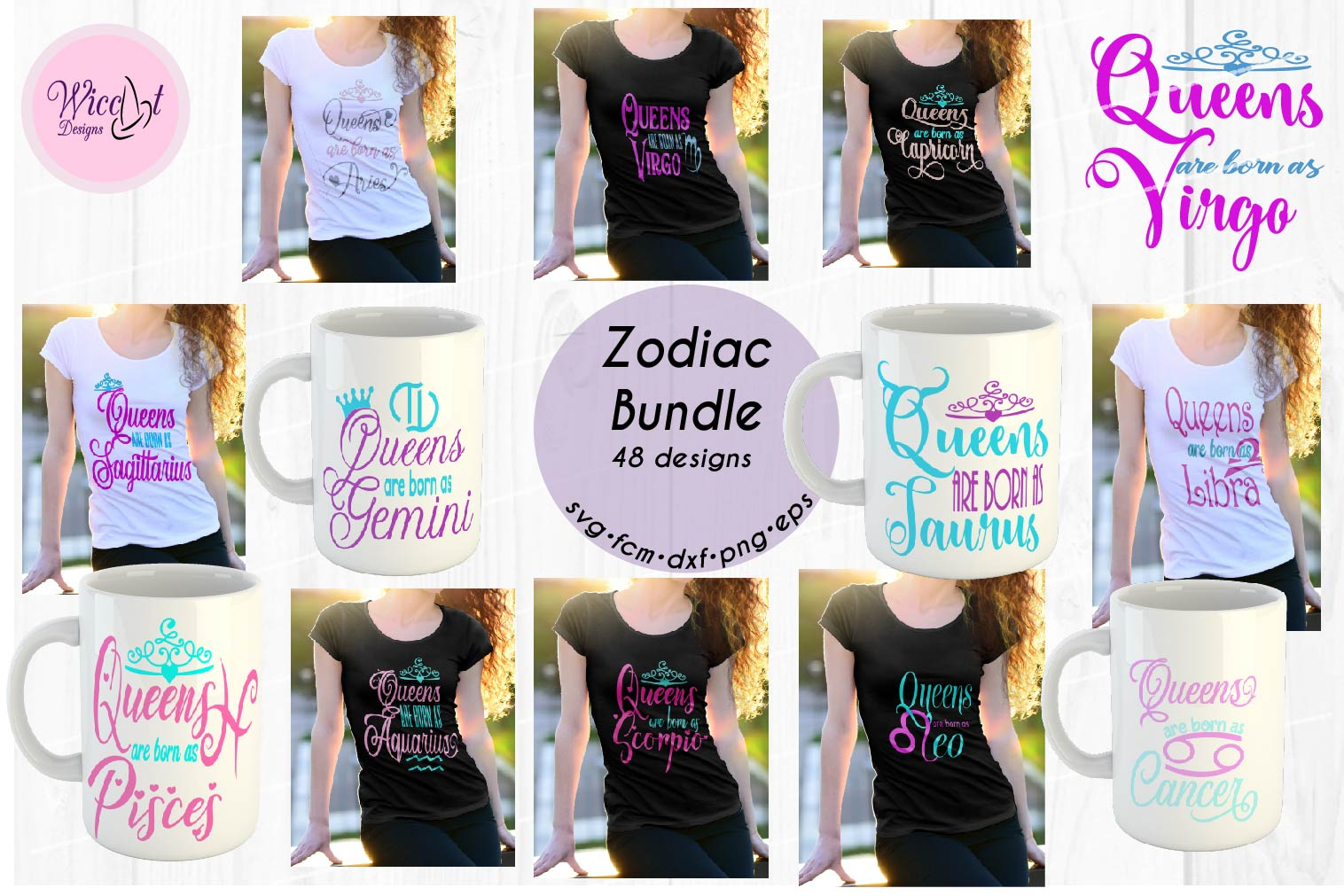 Queens are born as ... Zodiac bundle svg, all zodiac signs, example image 1