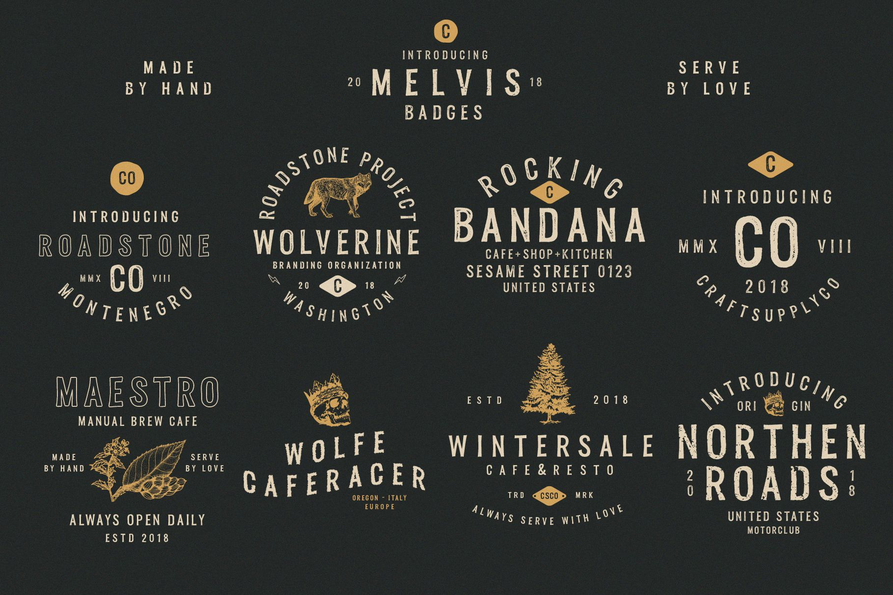 Melvis - Vintage Font Family Extras example image 2