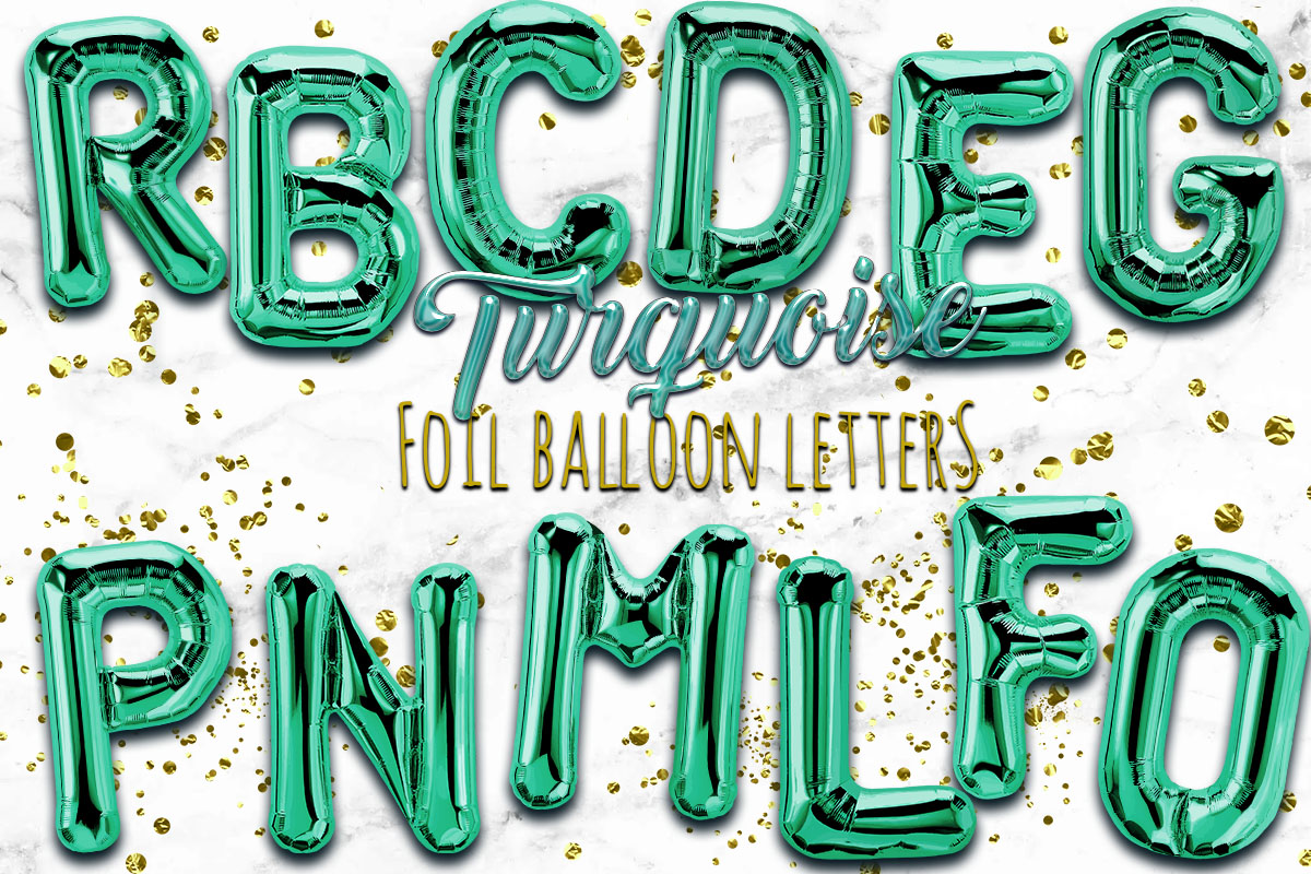 Turquoise Foil Balloon Numbers PNG- Hand Drawn example image 1