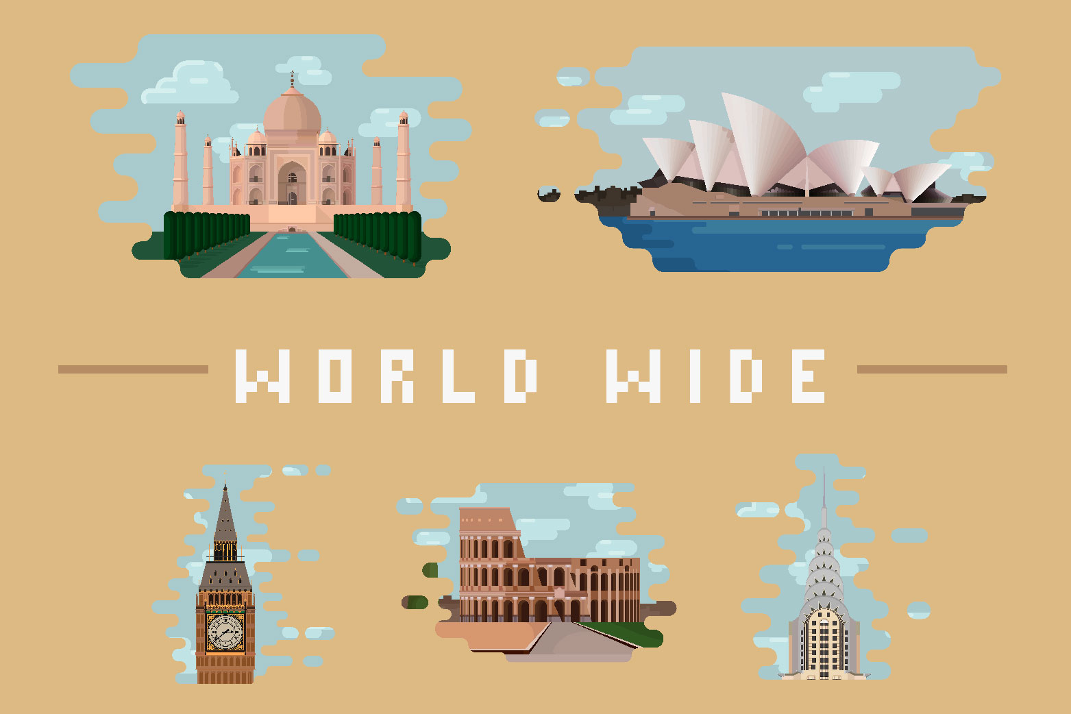 Word wide - Architectural landmarks illustrations example image 1