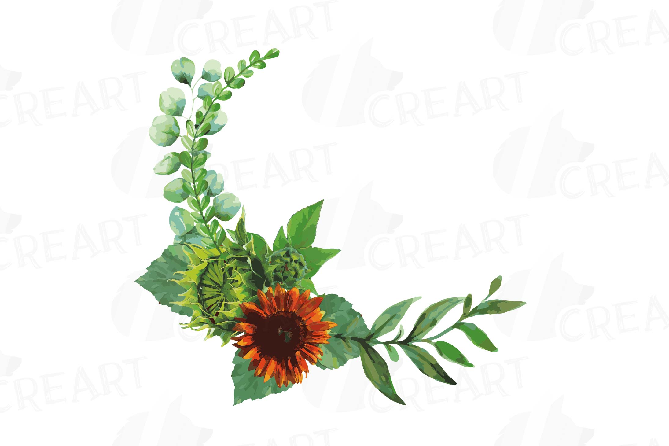 Watercolor sunflower bouquets and design elements example image 9