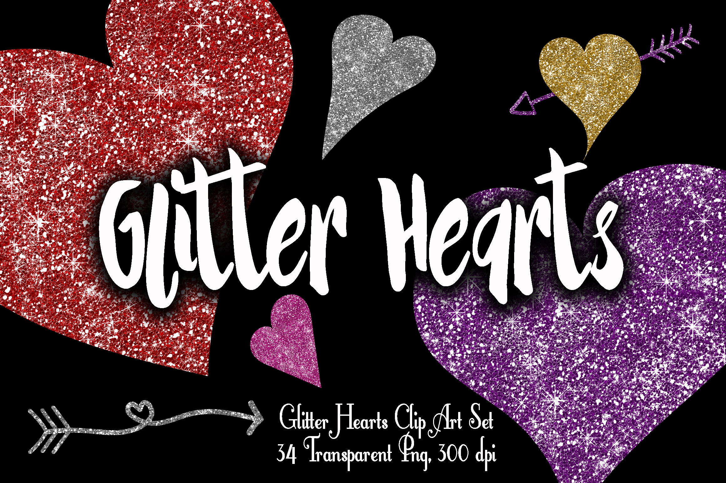 Glitter Valentine Hearts Clip Art - PNG example image 1