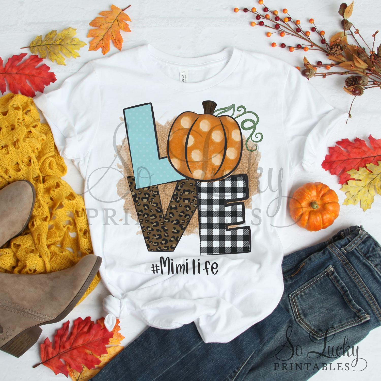 Love pumpkin #Mimilife printable sublimation design example image 2