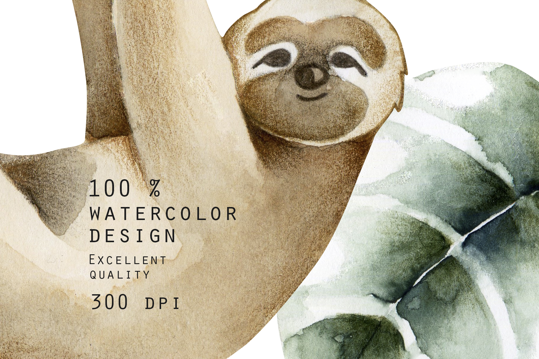 Sloths family. Watercolor clipart. example image 6