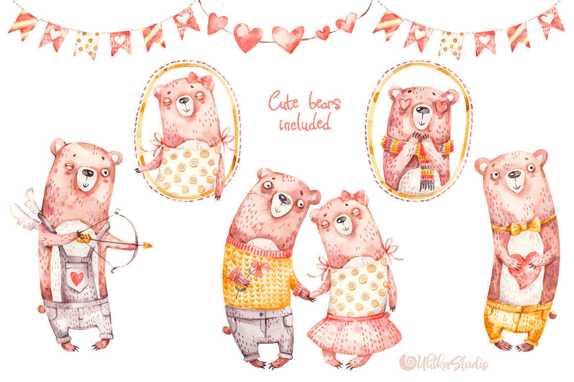 Cozy Valentines Day. Lovely bears watercolor collection example image 7
