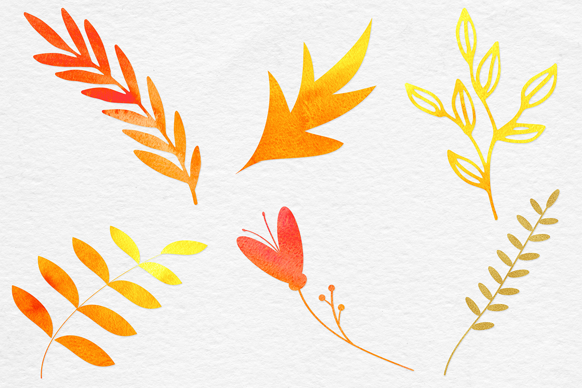Watercolor & Gold Botanical Clipart example image 4