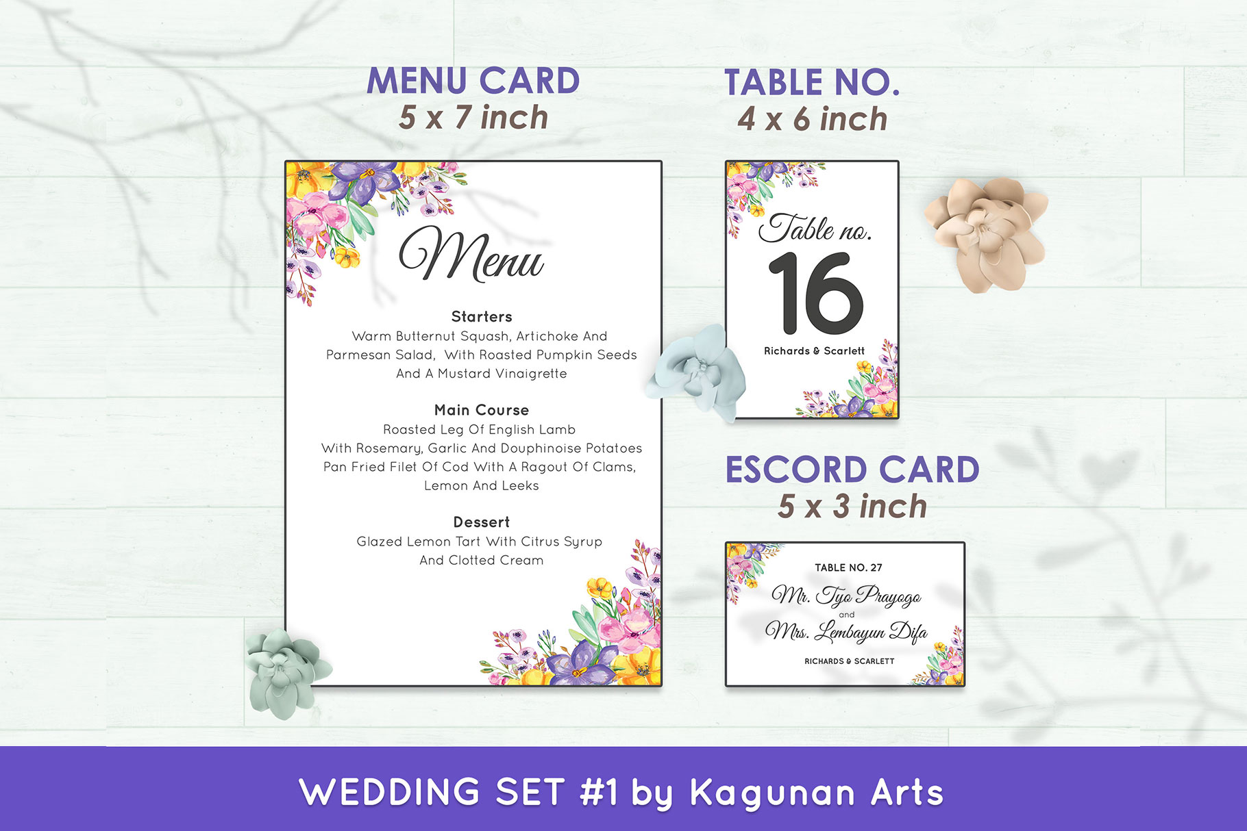 Wedding Invitation Set #1 Watercolor Floral Flower Style example image 6