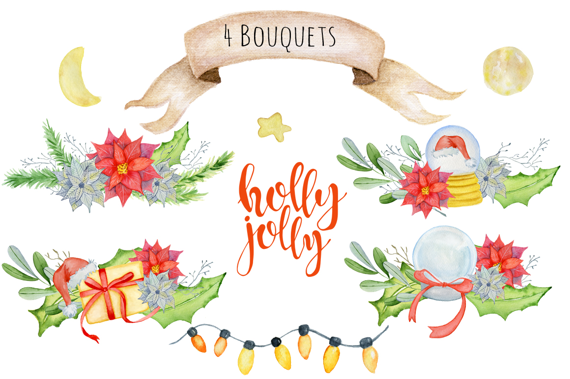 Christmas floral watercolor clipart Holly Jolly example image 4