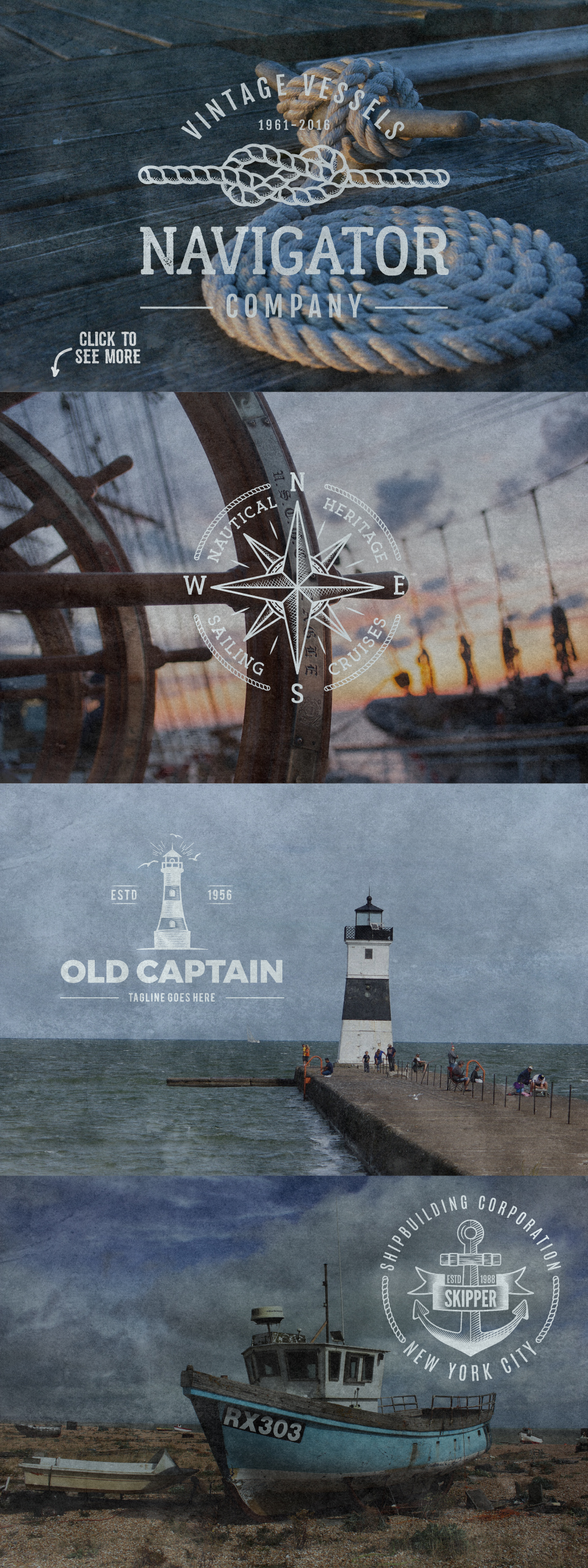 Vintage Nautical Logo Collection example image 6