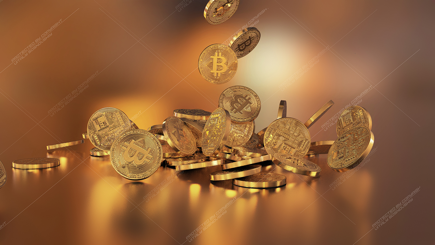 6  files - 3D rendering Bitcoins falling on a pile example image 6