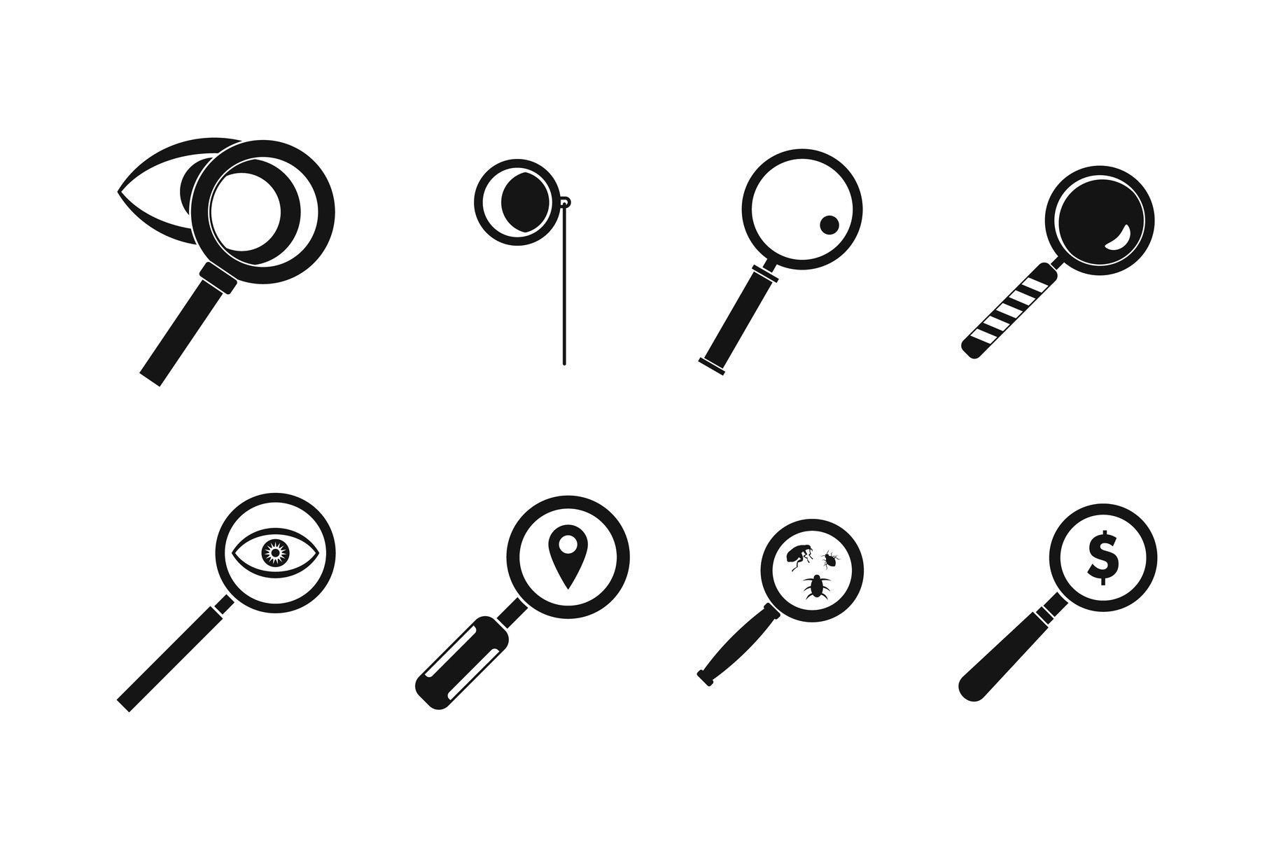 Magnifying glass icon set, simple style example image 1