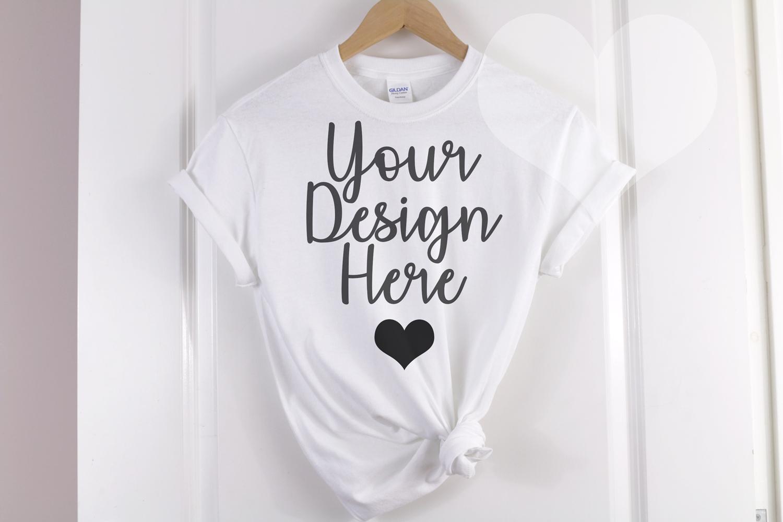 White Gildan 500 T shirt Unisex - Hanging Mockup example image 1