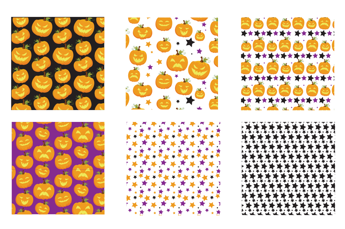 Halloween Pumpkins Pattern collection, vector ai, eps and example image 3