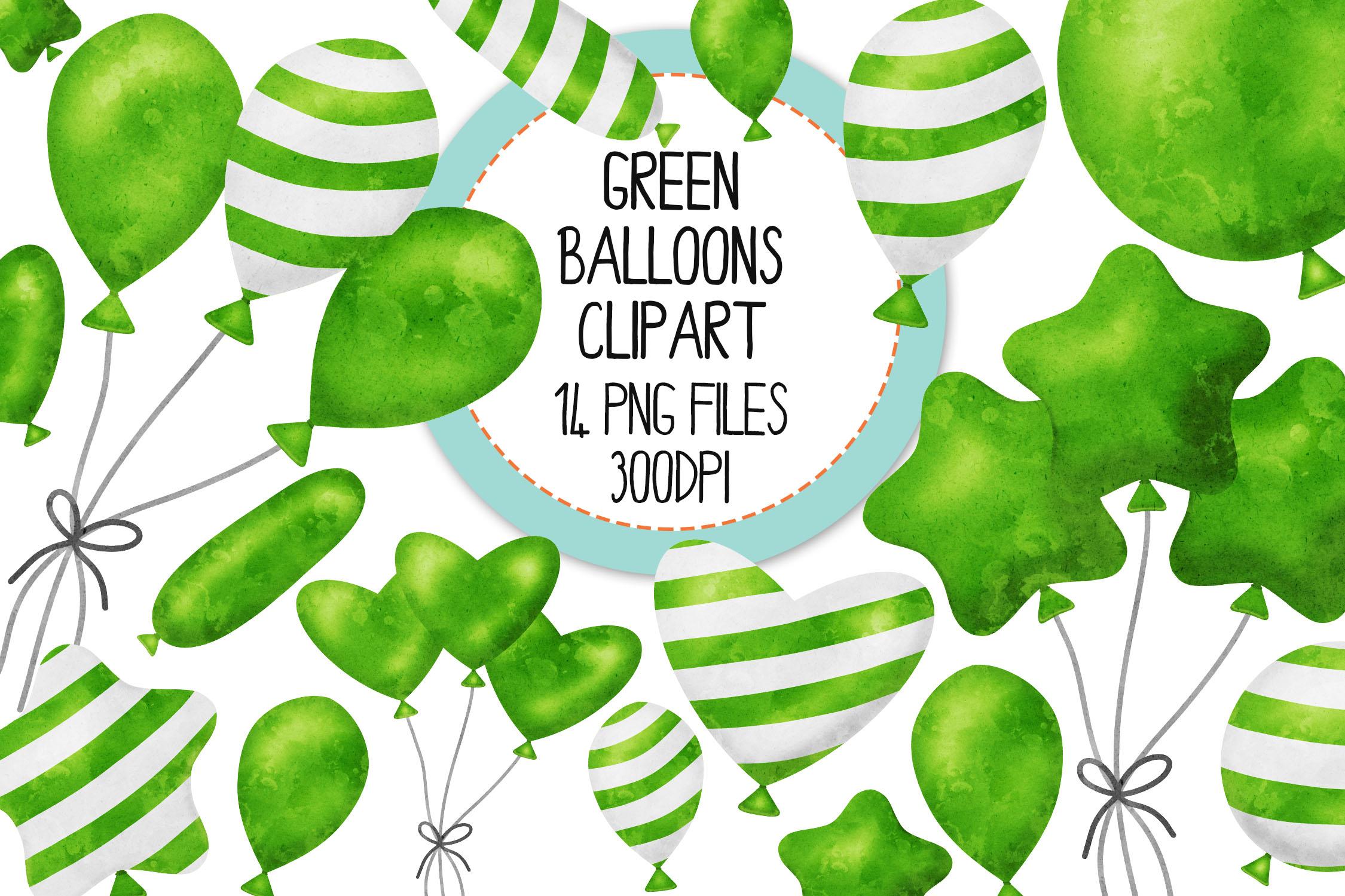 Green Watercolor Balloon Clipart Set example image 1