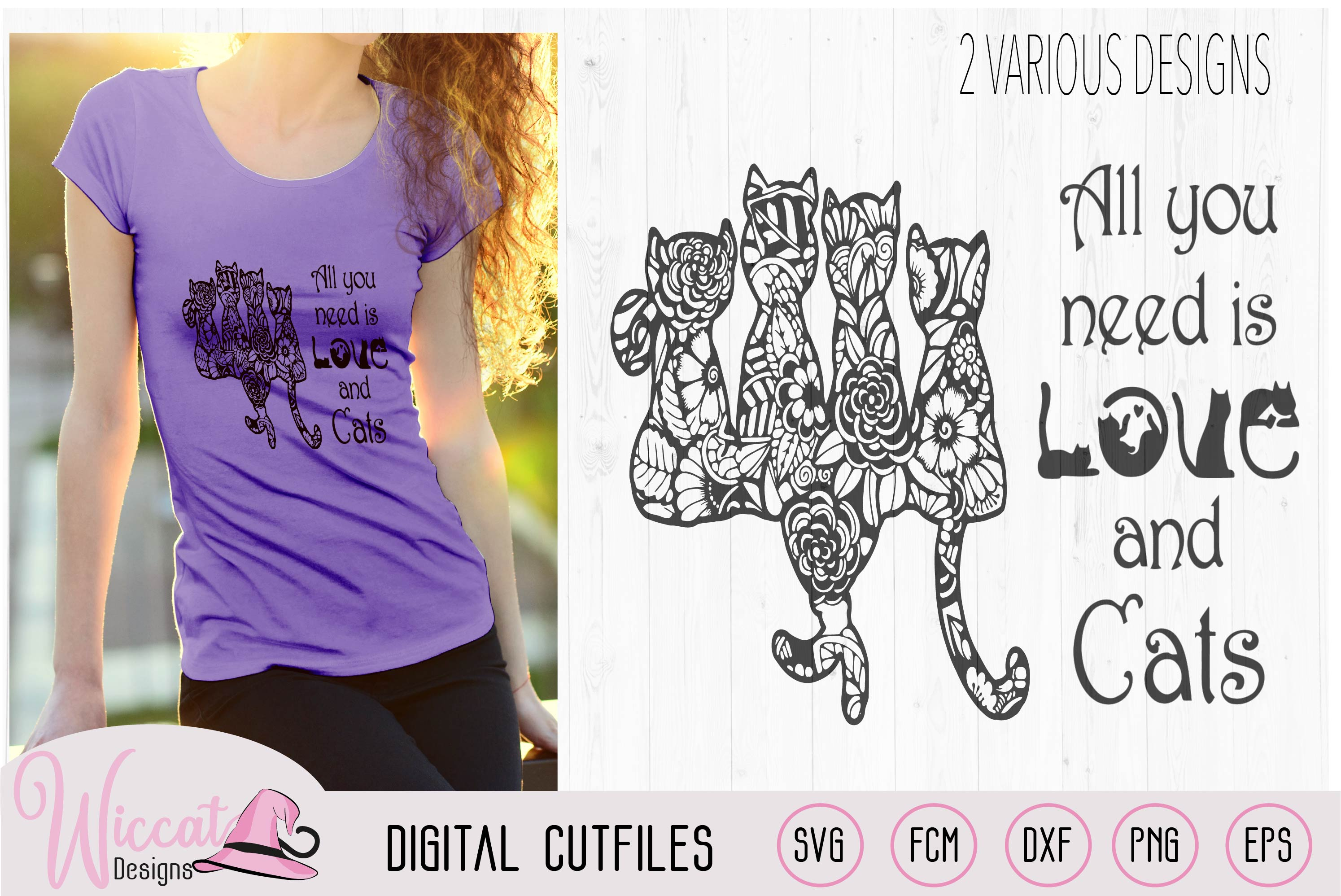 Doodle cats all you need is love, cat quote svg, word art, example image 1