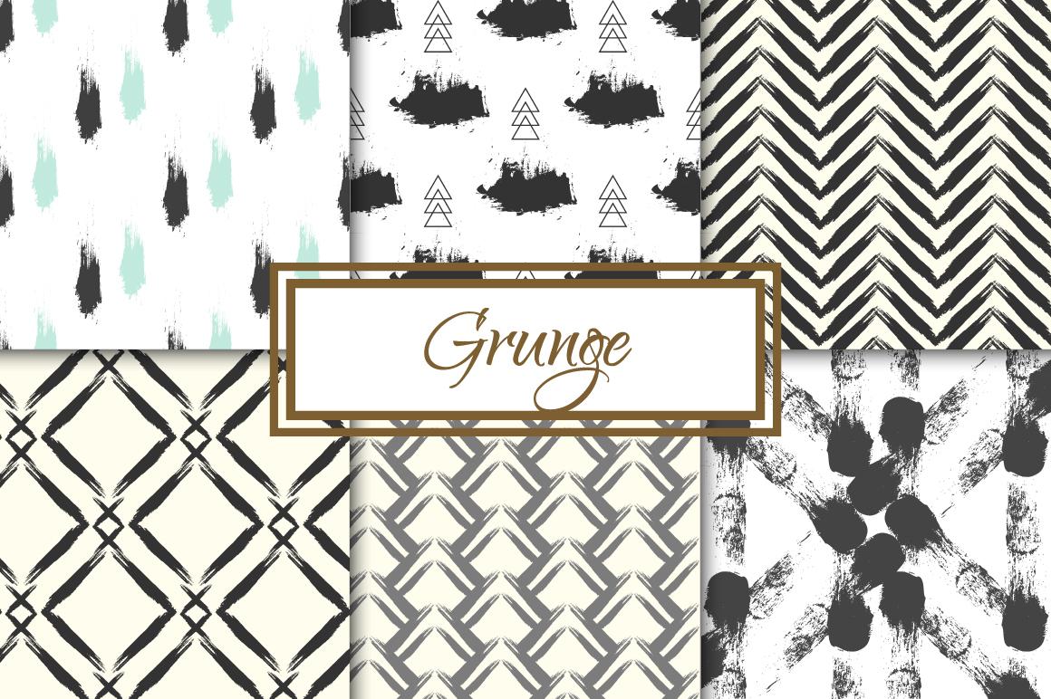 Grunge 6 seamless patterns example image 1