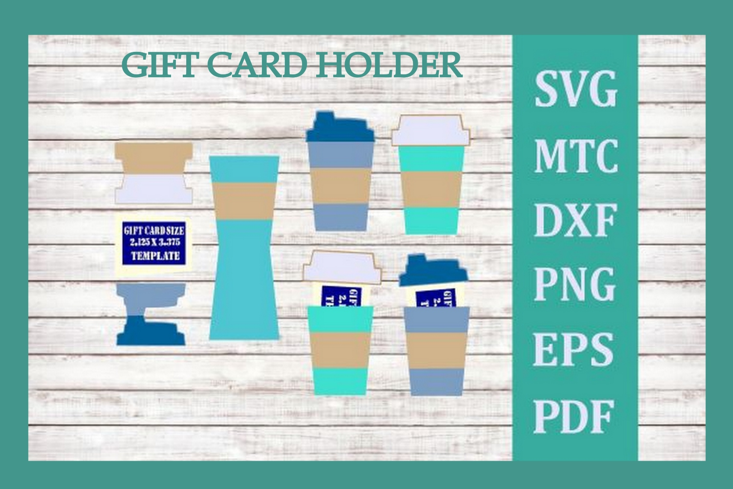 SVG Gift Card Holder Coffee Cup Bundle 4 Cut Files Included example image 3