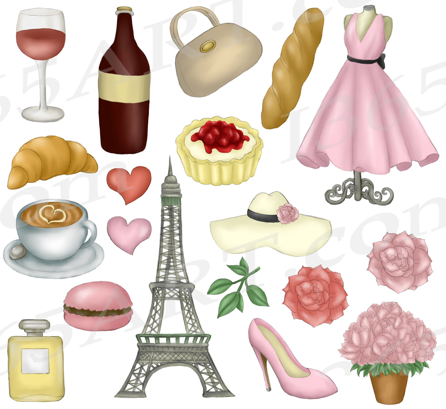 Springtime in Paris Clipart Girls & Fashion Illustrations example image 2