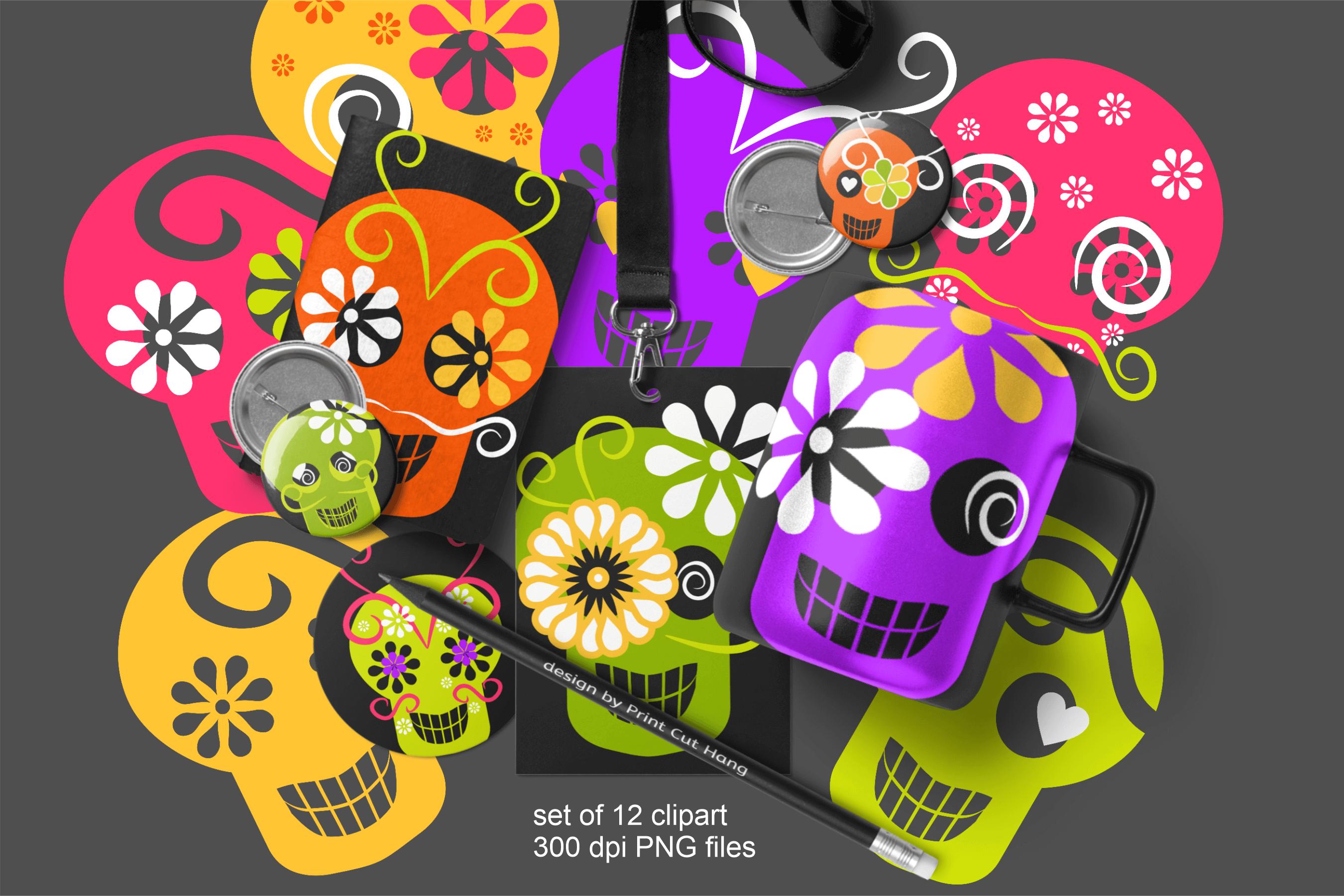 Skulls Clipart Set Kids Friendly Look PNG Files example image 5