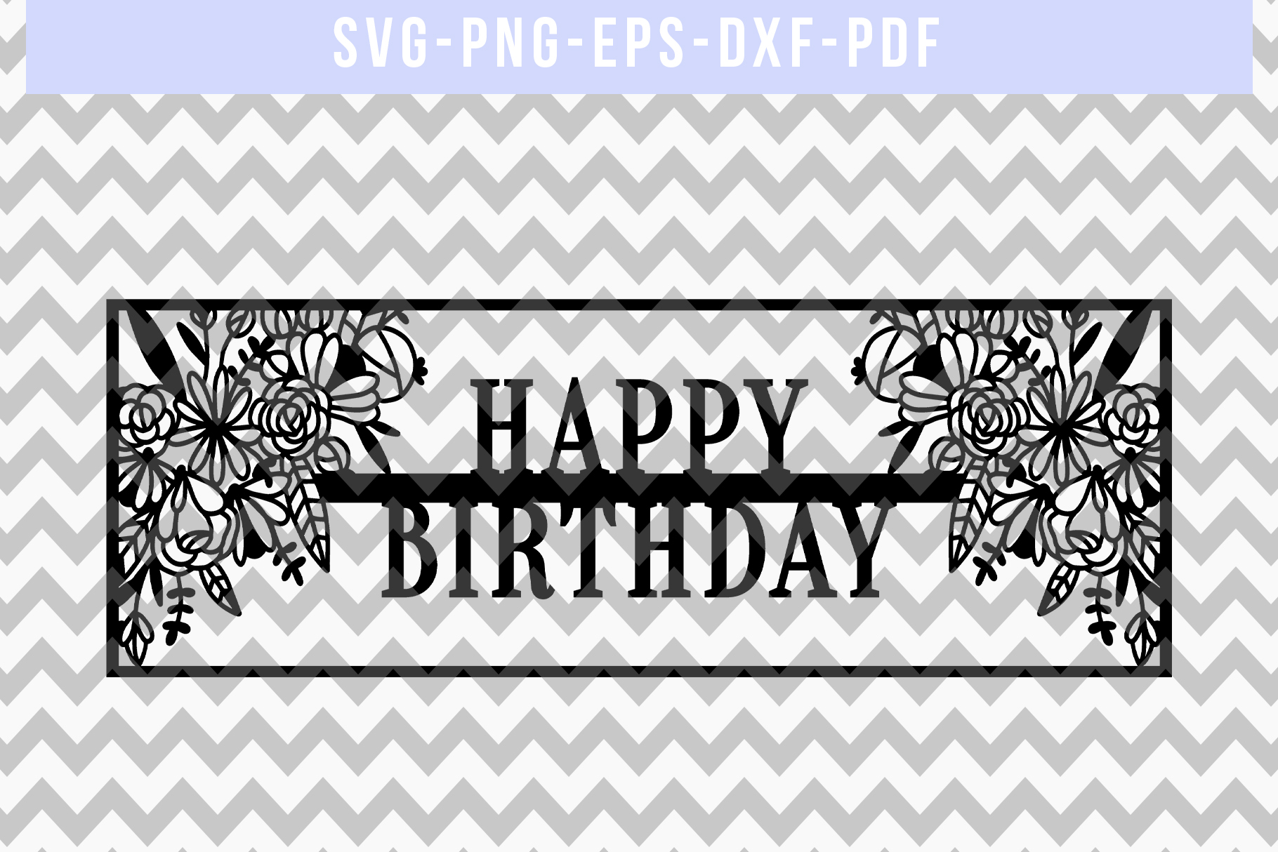 Happy Birthday Papercut Template, Birthday Frame SVG PDF DXF example image 4