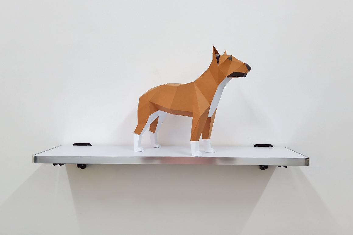 DIY Papercraft Bull Terrier model, papercraft dog sculpture example image 5