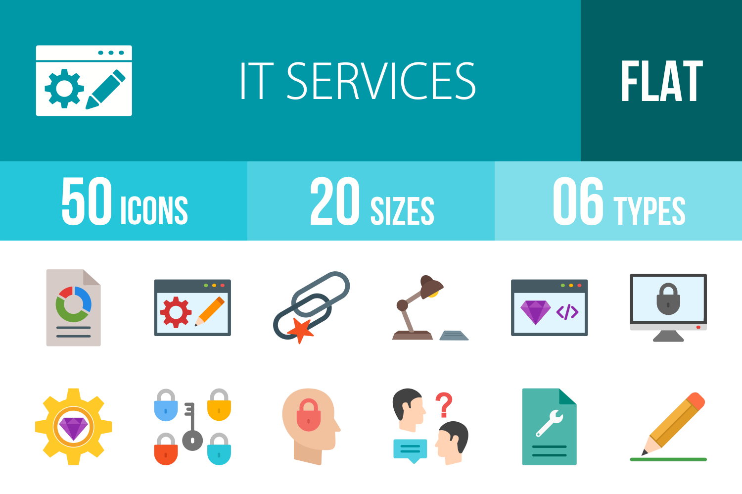 50 IT Services Flat Multicolor Icons example image 1