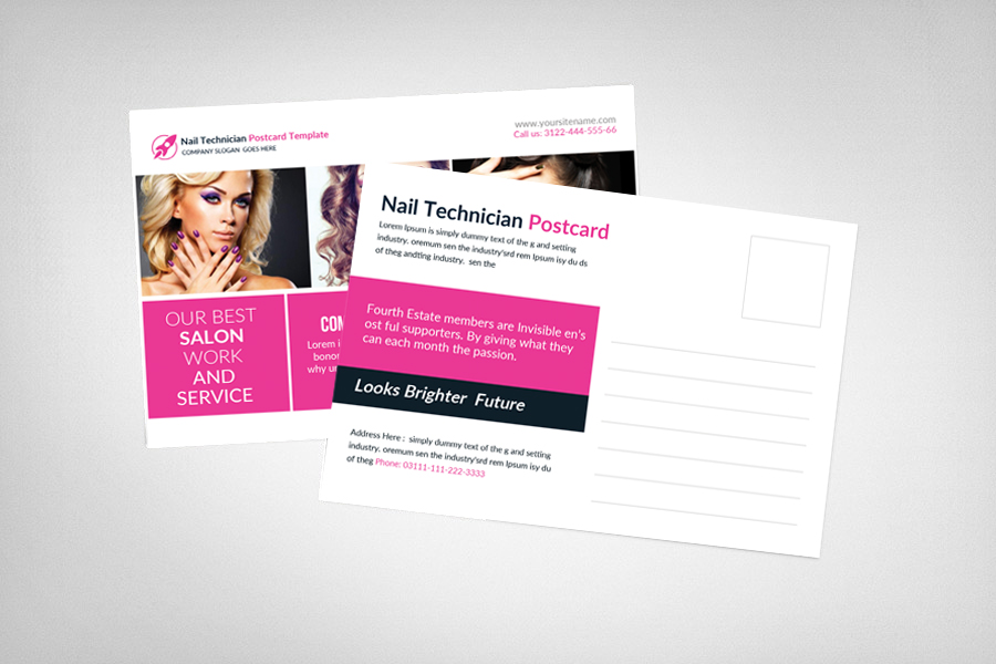Nail Technician Postcard Template example image 2
