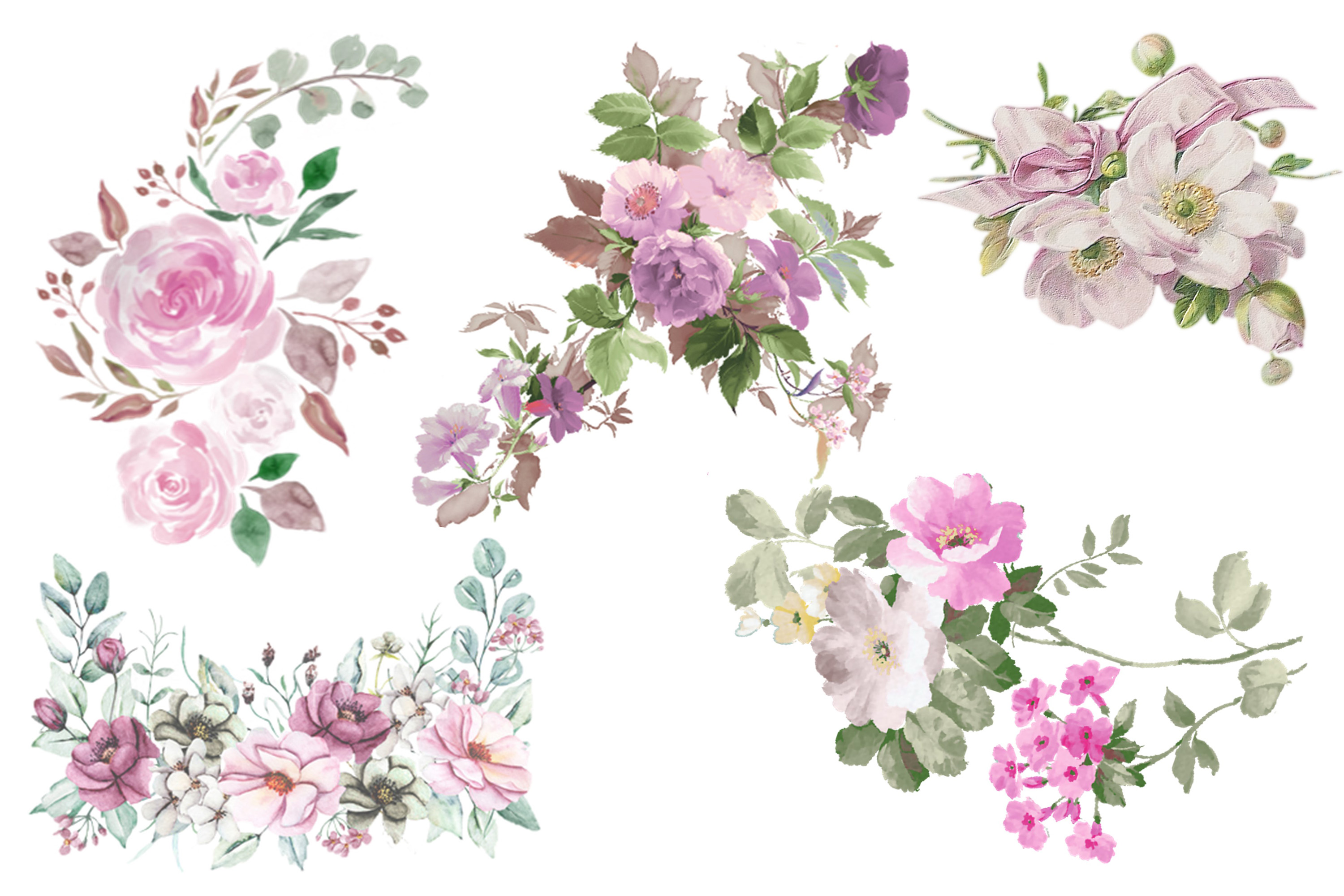 Watercolour Florals Clipart Bundle Commercial Use example image 4