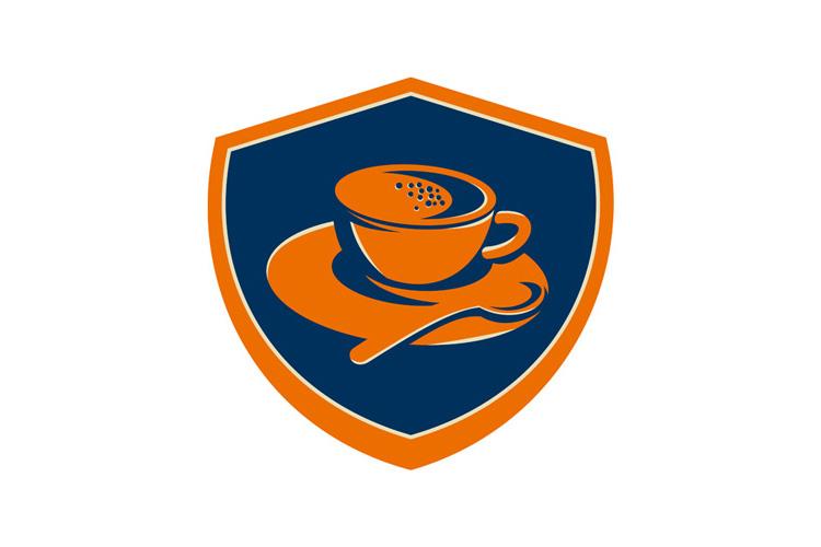Coffee Cup Teaspoon Crest Retro example image 1
