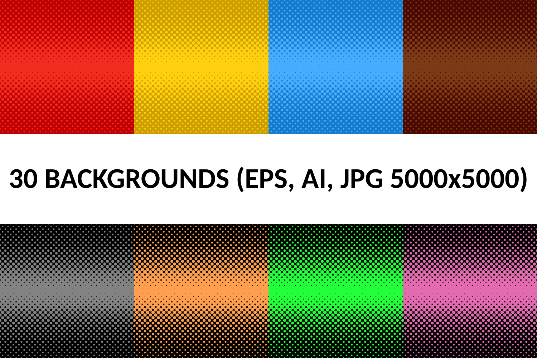 30 Halftone Dot Backgrounds (AI, EPS, JPG 5000x5000) example image 1