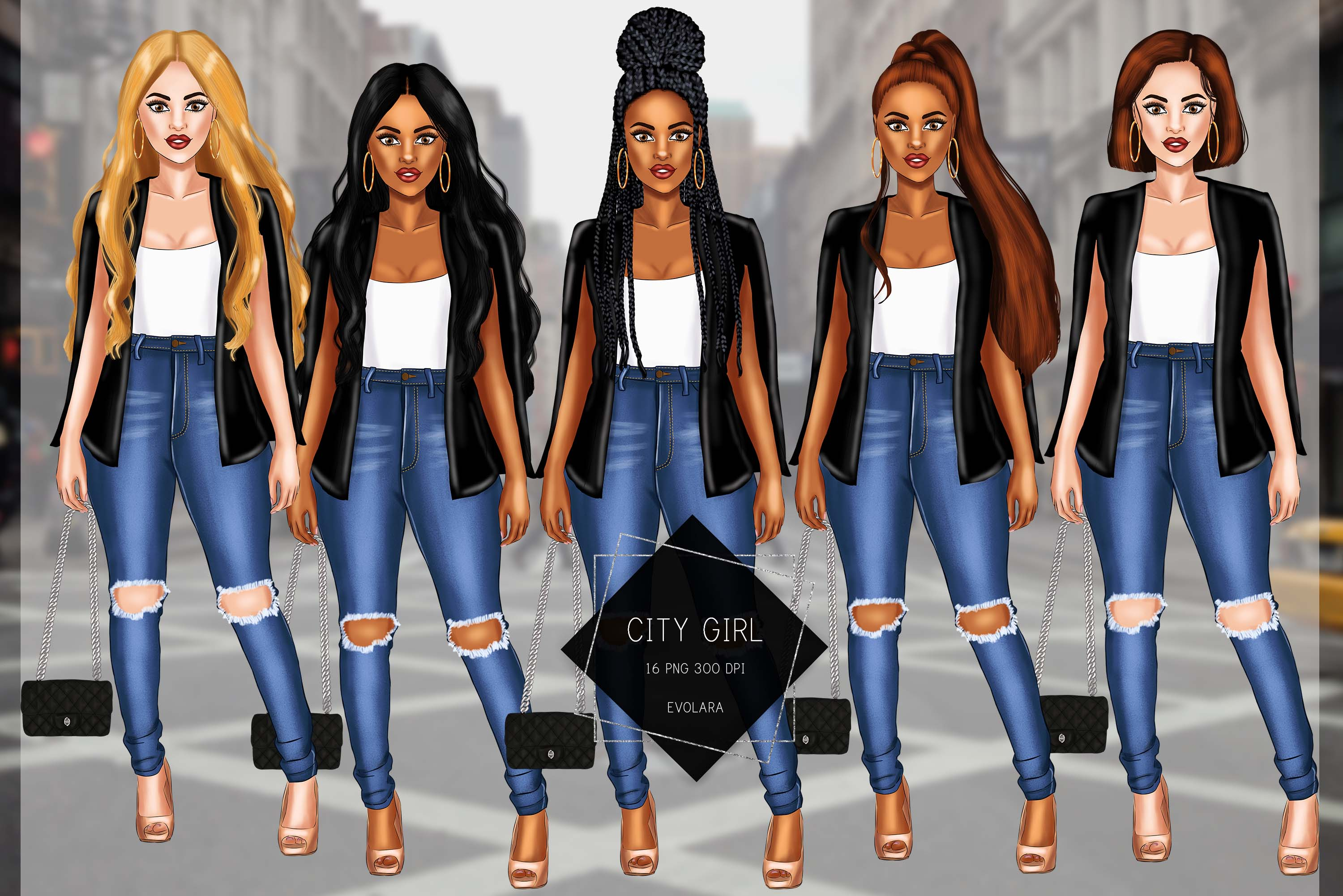 Girl Boss Clipart Fashion Girls Clipart African American example image 1