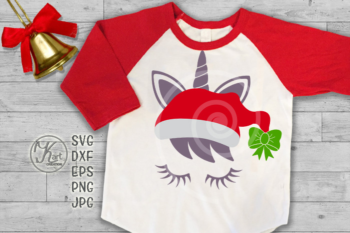 Christmas unicorn in Santa hat eyelashes svg dxf for cut png example image 1