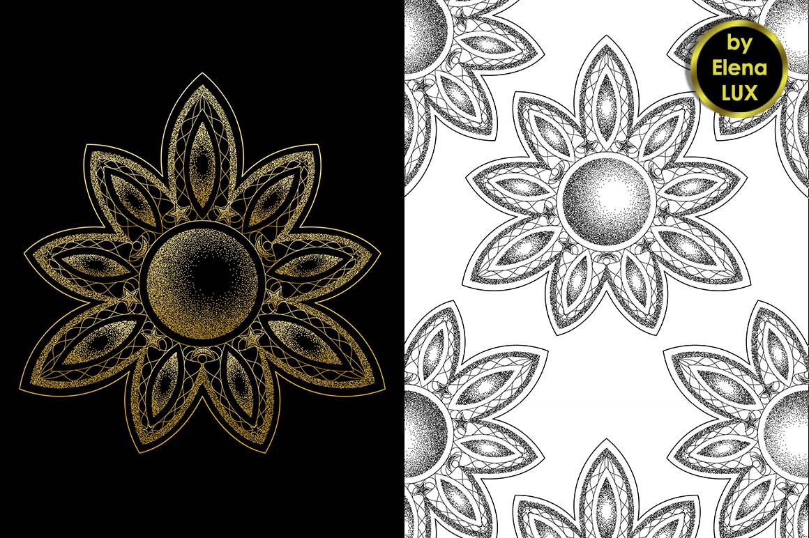 Mandala Dotwork Tattoo and Seamless Patterns example image 2