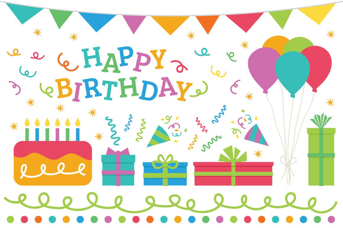 Happy Birthday Party Clip Art Set example image 2