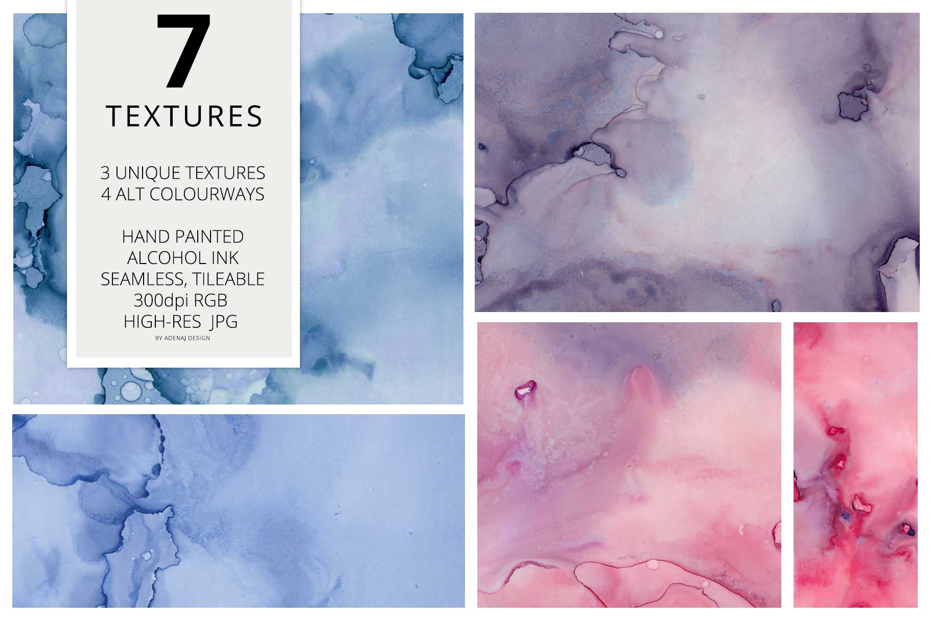 7 Huge Seamless Purple Alcohol Ink Textures example image 2