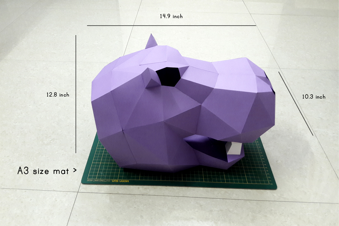 DIY Hippo Trophy - 3d papercraft example image 5
