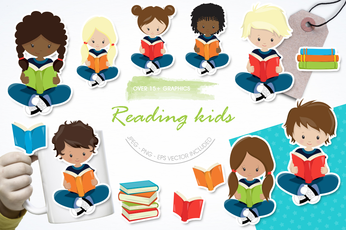Reading Kids graphic and illustrations example image 1