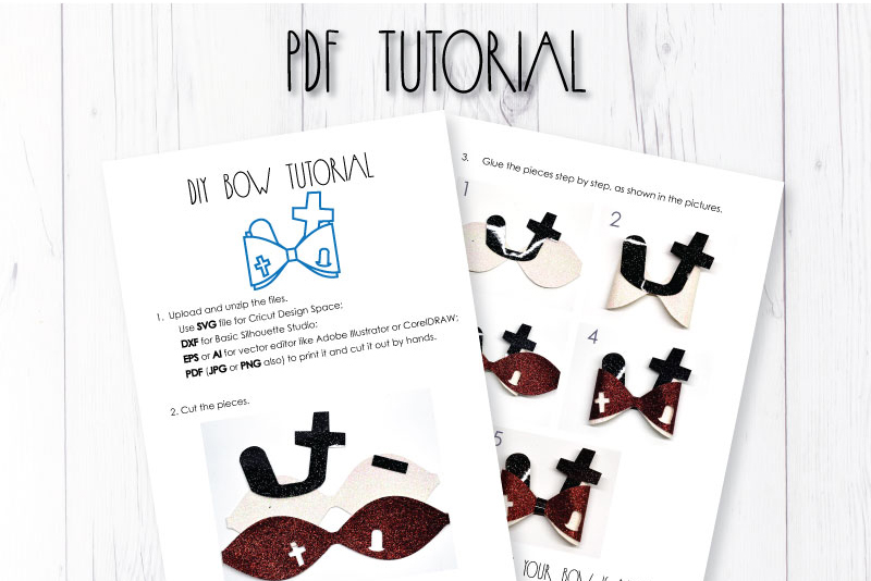 Cemetry Hair bow template SVG, DIY leather bow template example image 3