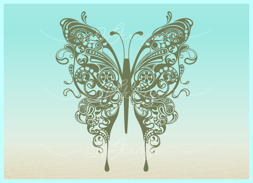 Download Beautiful Butterfly Mandala Zentangle SVG Dxf Eps Png Files