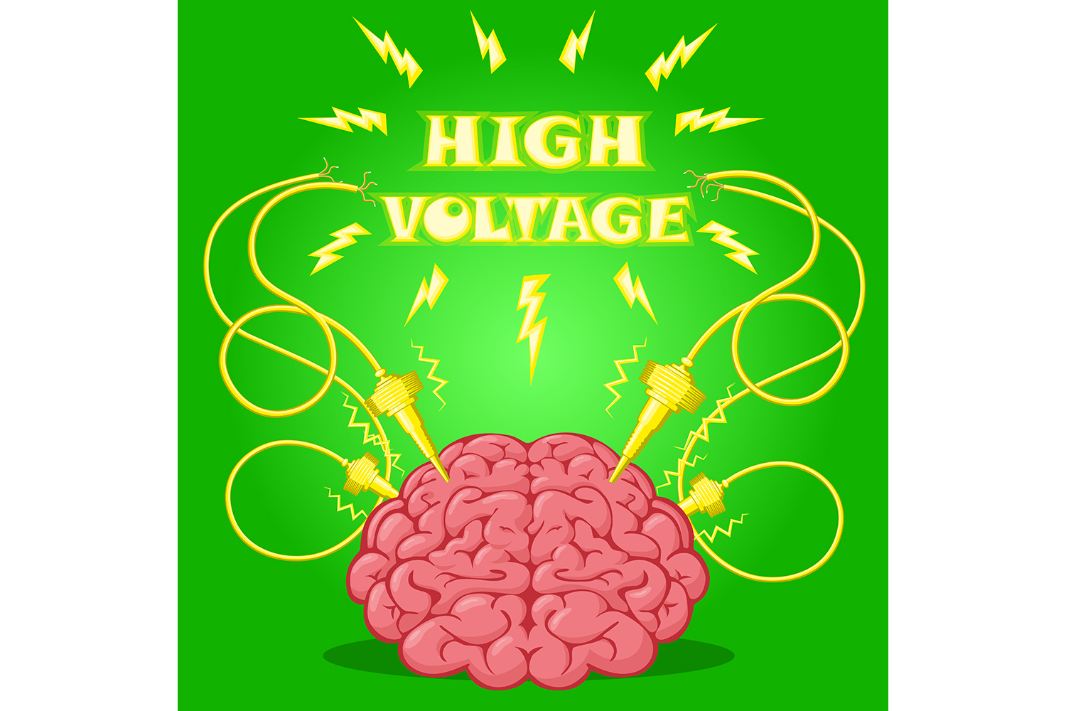 Set of poster: brain with electrodes energized.  Vector illustration. example image 3