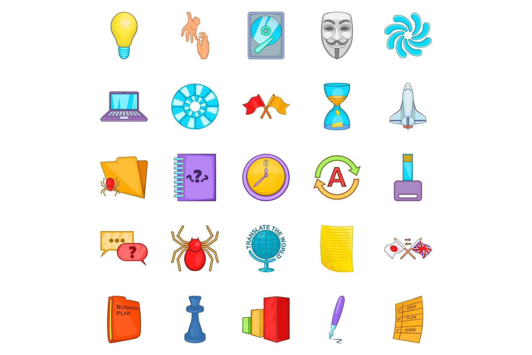 Broker icons set, cartoon style example image 1