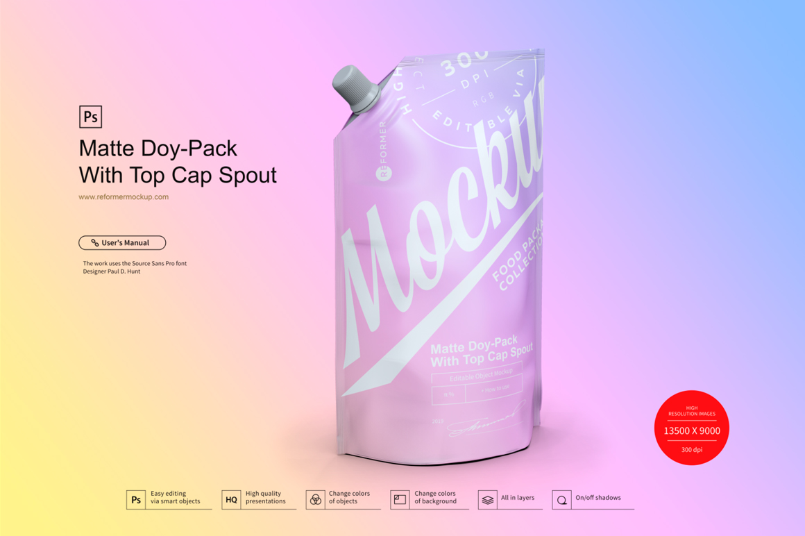 Matte Doy-Pack With Top Cap Spout example image 3