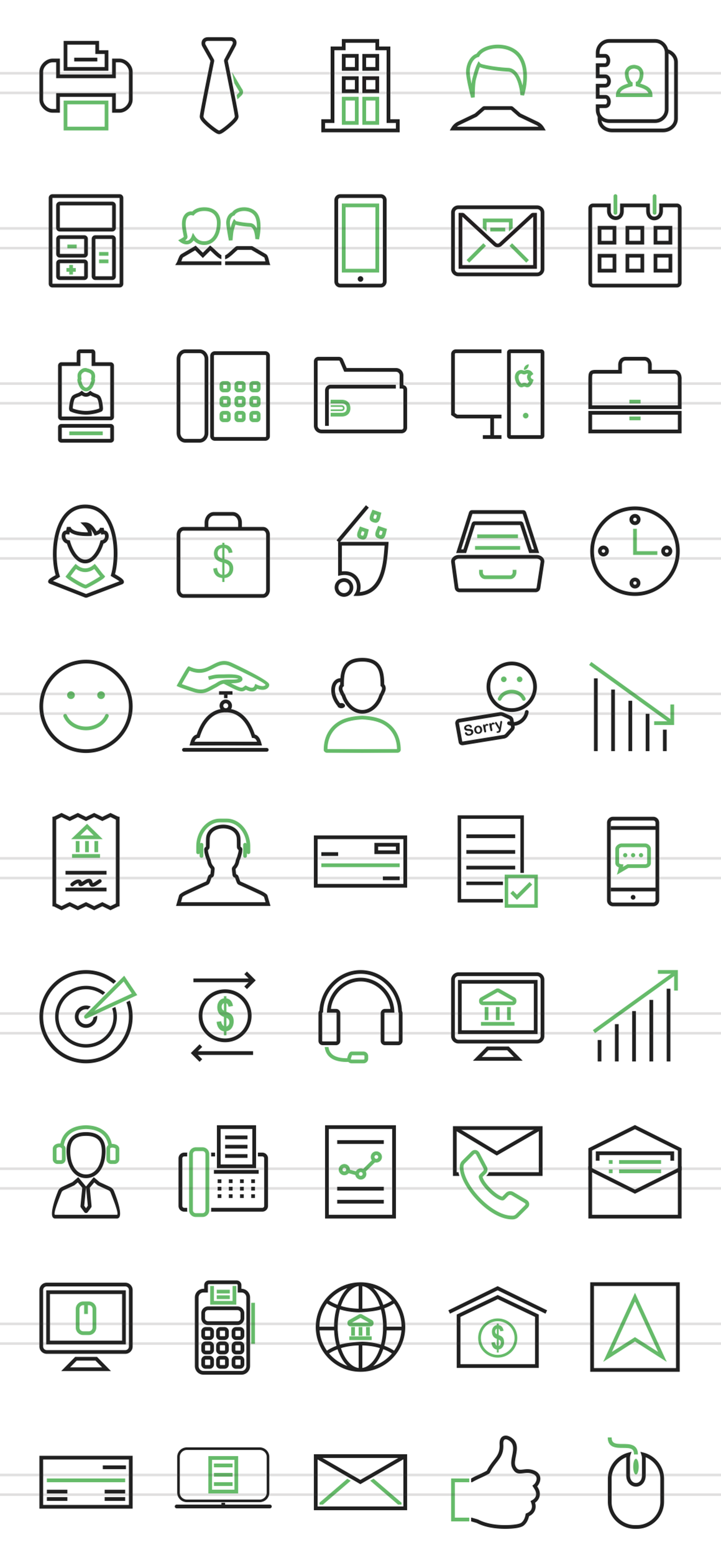50 Business Line Green & Black Icons example image 2